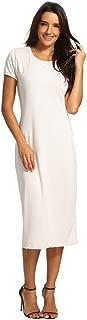 Women Solid Dress Short Length O-Neck Mid-Calf Straight Princess Dress