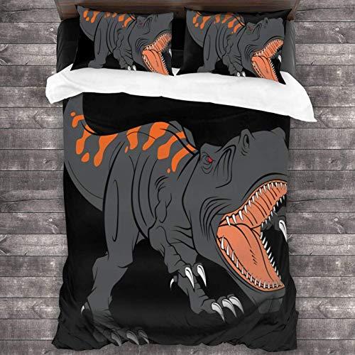 Maja Shop Tyrannosaurus rex Dinosaur Animal Pattern Unisex Set di biancheria da letto 3 pezzi 200 x 70 cm con chiusura a cerniera Super Soft Microfibra Comforter con federa per camera da letto e hotel