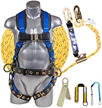 Plank Supply Premium Fall Protection Roofing Bucket Kit I Full Body Safety Harness, 50' Vertical Rope, Anchor Set & Free Gift I OSHA/ANSI Compliant Arrest Kit (3X-Large, Blue)