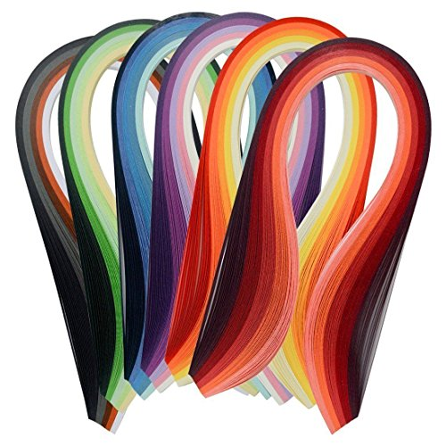 Papier pour quilling - Lot de 600 bandes multicolores - 39 cm de long/largeur...