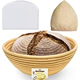 (9 Inch) Banneton Proofing Basket + Free Bowl Scraper & Cloth Liner - Perfect Bread Loaf Shape Flour Round Rising Rattan Wicker Wood Handmade Large Oval Prooving Brotform Set Dough Box by Bread Bosses