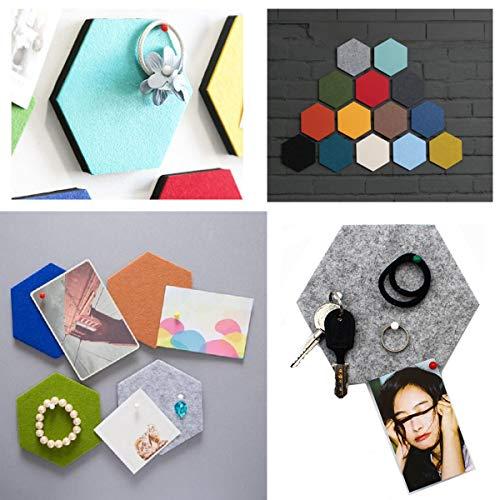Voelde Hexagon Board Tegels met Volledige Sticky Back, Pin Board, Maak uw zeer eigen muur Bulletin Board overal in uw huis om een Handige plek om notities foto's Doelen Foto's Tekenen - 1 Stks Zwart