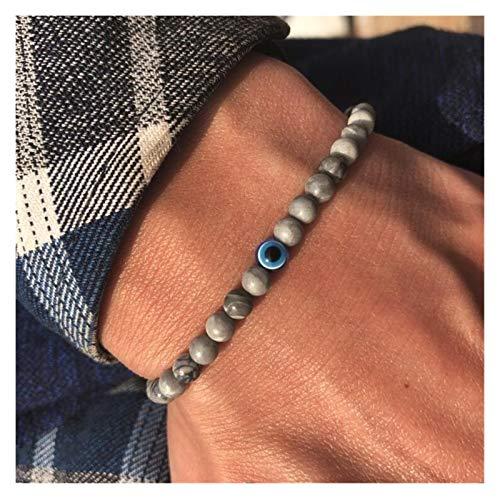 ZNYD Moda 4mm Perlas de Piedra Natural Pulsera de Ojo Malvada Hematita Hecha a Mano Hematita Turco Equipo Malvado Braclet para Hombres Joyería de Mano (Color : Map Stone)