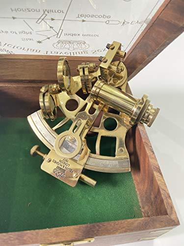 malla Nautischer Sextant aus Messing, handgefertigt, 12,7 cm, mit gravierter Holzbox, Navigations-Sextant