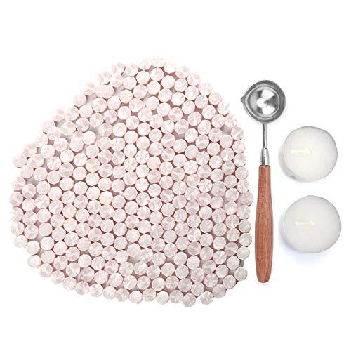 Kelzia Perlas de Cera de Sellado- Kit de Lacre de Sellado Octagonal con 2 Velas de Té + 1 Cuchara de Fundir sin Sello - Cera para Sellar y Decorar Cartas e Invitaciones - 230 piezas