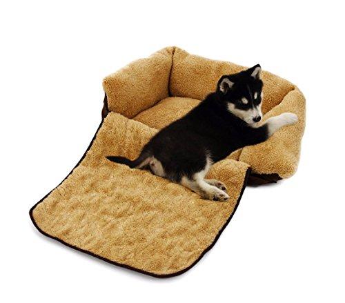MEDIA WAVE store Poltroncina allungabile Cani Doppia Funzione Cuccia Morbida 82x46x18 di Colore Beige