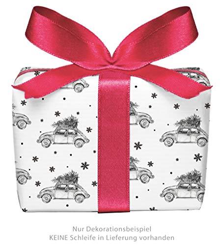 5er-Set Weihnachts Geschenkpapier Bögen WEIHNACHTSAUTO CHRISTBAUM TANNE SCHWARZ WEIß Auto Käfer Beatle • Weihnachten, Weihnachtspapier, Weihnachtsgeschenke, Adventskalender • Format: 50 x 70 cm