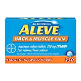 Aleve Back and Muscle Pain Tablets, Fast Acting All Day Targeted Relief for Headache, Muscle, and Back Pain, Naproxen Sodium Capsules, 220 mg, 250 Count