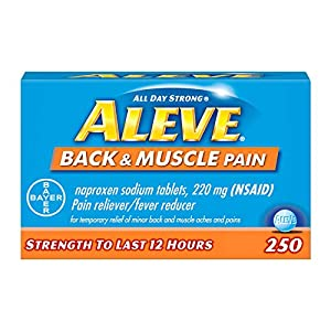 Fast targeted back & muscle pain relief that lasts up to 12 hours. Just two pills all day pain relief. Each pill has the strength to last 12 hours. Aleve's triple benefit: Proven relief, all day long, with fewer pills. Each pill has the strength to l...