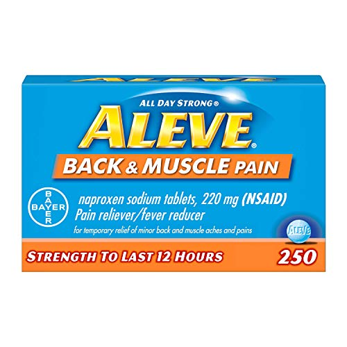 Aleve Back and Muscle Pain Tablets Fast Acting All Day Targeted Relief for Headache Muscle and Back Pain Naproxen Sodium Capsules 220 mg 250 Count