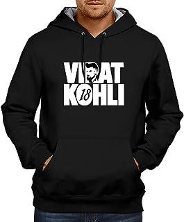 CUPIDSTORE Men's Sweatshirts - Cricket Hoodie - Virat Kohli Face 18 Blue Black Hoodies for Mens