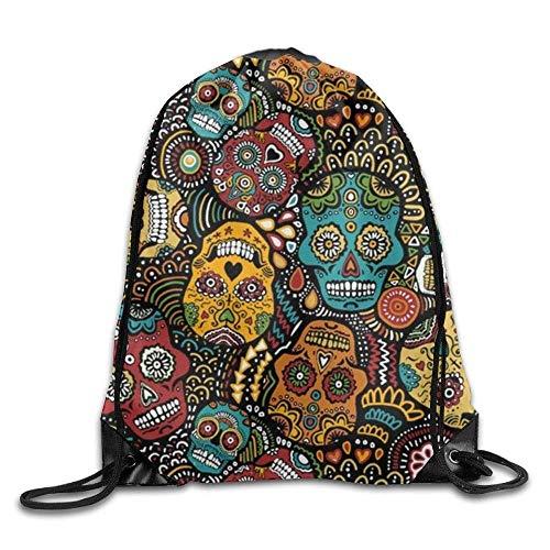 uykjuykj Bolsos De Gimnasio,Mochilas,Drawstring Backpack Kids Adults Waterproof Bag For Gym Traveling Mexican Sugar Skulls Lightweight Unique 17x14 IN