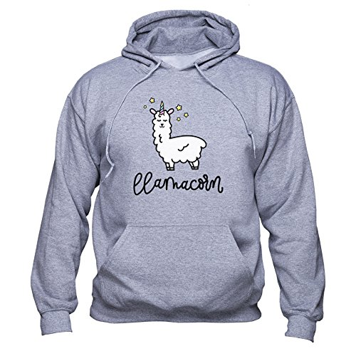 Llamacor Sweatshirt Llama Unicorn Hoodie Funny Llama Pullover Love Unicorn Men Women Unisex Sudadera con Capucha Gris L