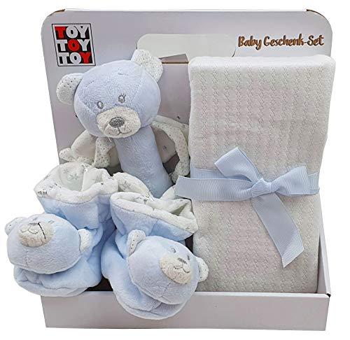 Baby Geschenk mit Babydecke Rasselschuhe Stabrassel Teddybär blau