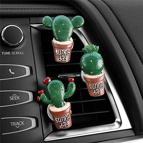 niawmwdt 3 unids/Set Automóviles Decoración de Coches Resina Cactus Vents Perfume Clip Lindo Auto Interior Ambientador Fragancia Adornos Regalos, 007