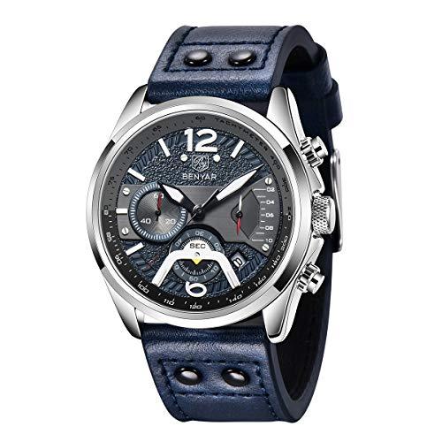 Herren Uhr BENYAR Chronograph Analogue Quartz Uhr Männer 3AMT Wasserdicht Mode Sport Design Armbanduhr mit Leder Armband Elegant Geschenk für männer