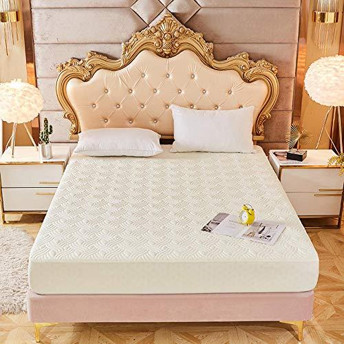 YFGY Funda de colchón Protector de colchón en Relieve Acolchado de Color sólido Single, Funda de sábana para colchón para Dormitorio Hotel Beige 135 * 200 cm