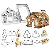 Juego de cortadores de galletas de Navidad para casa de jengibre, 18 piezas, moldes de acero inoxidable 3D, herramientas de hornear para fondant, galletas y hornear