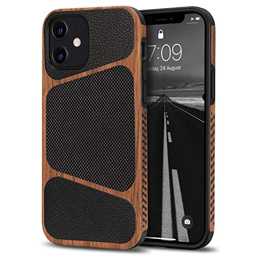 Tasikar Cover iPhone 12 Mini Custodia Ibrida in Legno e Pelle Compatibile con iPhone 12 Min