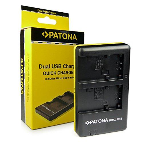 PATONA Dual Schnell-Ladegerät kompatibel mit Sony NP-FP30, NP-FP50, NP-FP60, NP-FP70, NP-FP90, NP-FH30, NP-FH40, NP-FH50, NP-FH60, NP-FH70, NP-FH100 Akkus