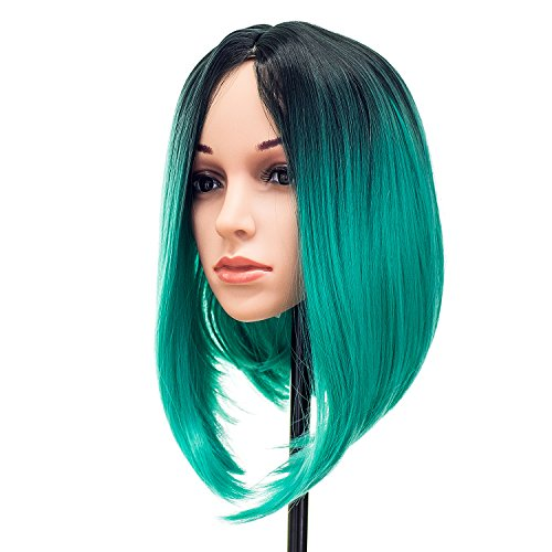 SWACC Ombre Colors Straight Short Hair Bob Wig Synthetic Colorful Cosplay Daily Party Flapper Wig for Women and Kids with Wig Cap (Teal Blue)