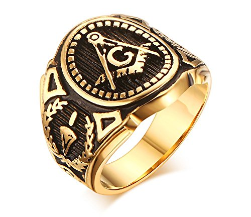 Stainless Steel Gold Plated Vintage Freemason Symbol Masonic Rings Bands for Men, Size 11