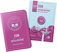Zion National Park Kids Guided Sketchbook with Hiking Button Pins - Pin to Backpack or Fanny Pack for Motivational Hike, R...