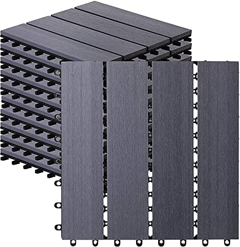 10 Count Interlocking Wood Plastic Composite Patio Deck Tiles Decking by CHR (Stone)