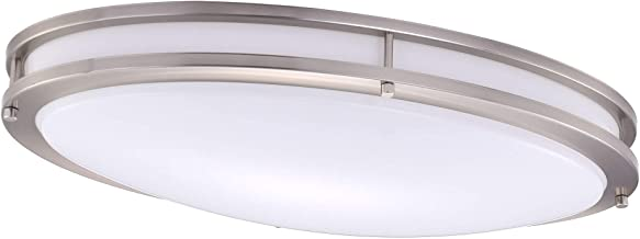 Cloudy Bay LED Flush Mount Ceiling Light,24 Inch 4000K Cool White,28W Dimmable,Brushed Nickel Oval Lighting Fixture