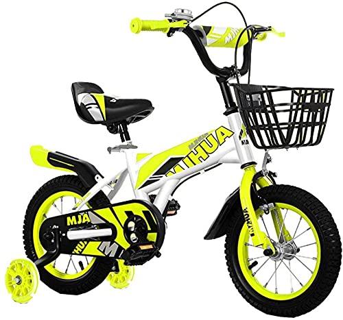 DFBGL Bicicletas para niños Bicicleta para niños de 12/14 Pulgadas para niños y niñas Bicicleta para niños con Ruedas de Entrenamiento, Frenos de Mano y Canasta, Adecuada para niños de 2
