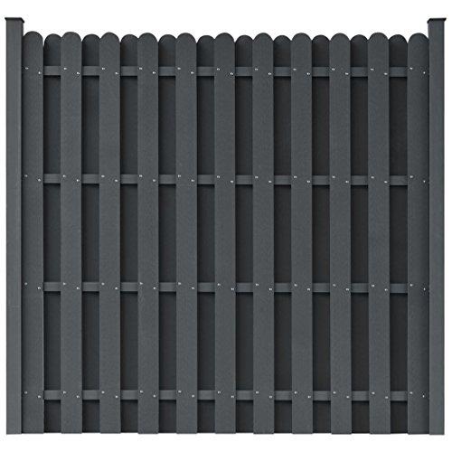 *vidaXL WPC Zaun 180×180cm Grau Sichtschutzzaun Windschutz Lamellenzaun Garten*
