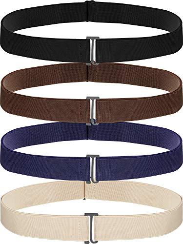 SATINIOR 4 Pack Women No Show Invisible Belt Elastic Stretch Waist Belt with Flat Buckle (Black Blue Khaki Brown), Medium