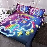 HUA JIE Bedding Set Juego Galaxy U-Ni-Co-RN Ropa Cama Niños Niñas Psicodélico Espacio Funda Nórdica 3 Piezas Rosa Púrpura Brillante U-Ni-C-ORN Colcha
