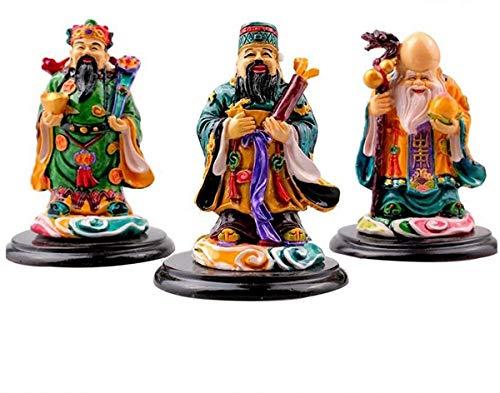 JYKFJ Estatua Fuk LUK SAU/Fu Lu Shou Three Gods Figurine, Feng Shui Colorful Three Gods Sets Escultura, Inauguración de la casa Felicitación Decoraciones de cumpleaños