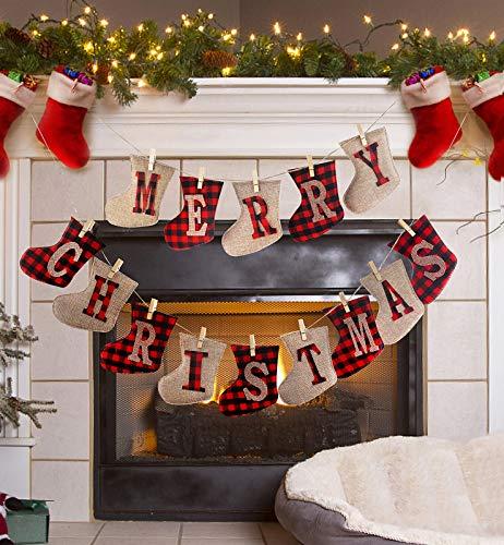 Merry Christmas Banner, Burlap Sock Shaped Christmas Decoration, Unique Hand -14pcs Sewn Christmas Decor, Great Firepalce Decoration for Xmas