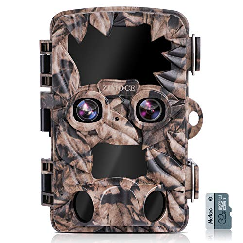 Trail Camera 4K 20MP, ZIMOCE Dual-Lens Wildlife Game Camera with Starlight Night Vision Motion Activated Waterproof IP66 Trail Cam for Hunting, Wildlife Watching, Farm Monitoring (Include 32GB Card)