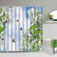 美しいピンクの花シャワーカーテン花植物印刷浴室カーテン防水ポリエステル浴槽装飾浴槽アクセサリー-W180xH180cm