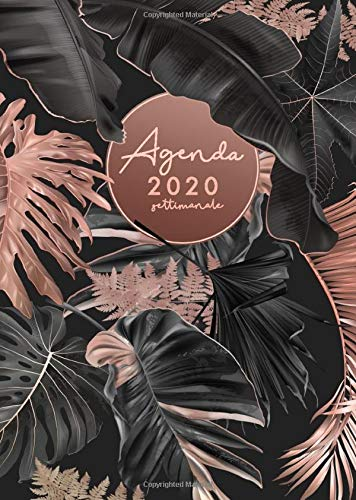 Agenda Settimanale 2020: Agenda 2020 giornaliera italiano, 15x21 cm, foglie di palma, colore nero