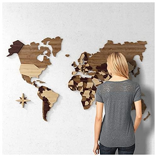 Mapa-Múndi MDF Multi-Madeiras c/Países em Alto Relevo (Camadas) (140x84cm)