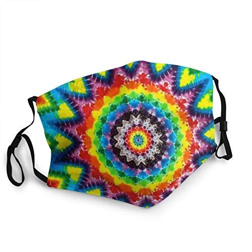 Mundschutz für Erwachsene, Regenbogen-Mandala, bunt, Batik, psychedelisch, verstellbar, Gesichtsschutz für Damen und Herren