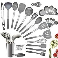 charlemain utensili cucina silicone, 35 pezzi set utensili cucina silicone antiaderente, mestoli cucina silicone senza bpa, manico in acciaio utensili da cucina con supporto - grigio