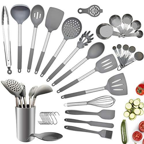 Charlemain Utensili Cucina Silicone, 35 Pezzi Set Utensili Cucina Silicone Antiaderente,...