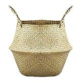 Woven Seagrass Baske stile rurale naturale Seagrass bagagli carrello pieghevole Impianto Basket Tote Belly Holder,carrello Vaso di copertura