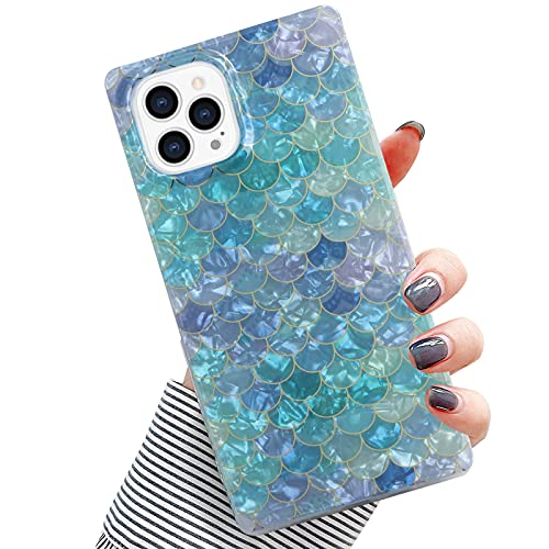 PERRKLD Compatible iPhone 12 Pro Max Case Square, Plating Dream Blue Mermaid Scale Pattern Scale Square Shining Full Protection Glitter TPU Back Cover for iPhone 12 Pro Max 6.7 in
