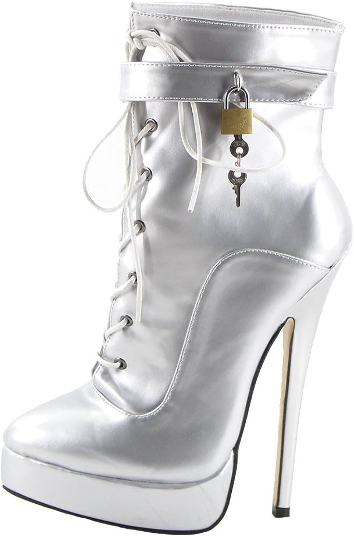 Wonderheel 7  stiletto heel ankle boots silver patent sexy padlocks platform women boots