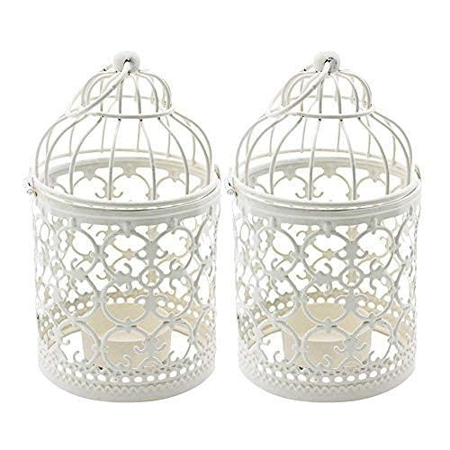 Ciaoed Cage À Oiseaux en Métal Lanterne Décorative Bougie Photophore Lanterne Maison de Mariage Décoration de Table Fer Bougie Bougeoir Lanterne Suspendue (2 x Blanc)