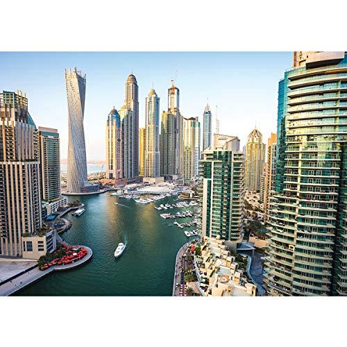 Vlies Fototapete PREMIUM PLUS Wand Foto Tapete Wand Bild Vliestapete - Dubai Land Skyline Hafen - no. 3115, Größe:368x254cm Blueback Papier