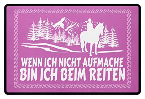 shirt-o-magic Pferde: .bin ich beim Reiten - Fußmatte -60x40cm-Pink