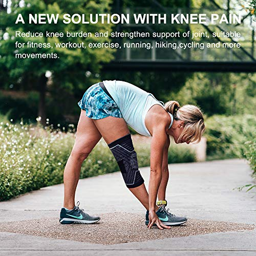 Knee Support, Upgraded Knee Brace with Silicone Patella Gel Pad & Side Stabilizers Enhanced Compression & Stabilization Knee Sleeve for Sports Pain Relieve Arthritis Meniscus Recovery,Single Gray XL