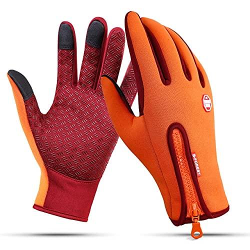 Guantes cálidos de Invierno a Prueba de Viento para Hombre Guantes de esquí Guantes de Snowboard Motocicleta Pantalla táctil de Invierno Guante Cortavientos para Nieve-Orange-2-L